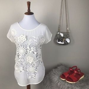Baraschi for Anthro White sheer & crochet lace top